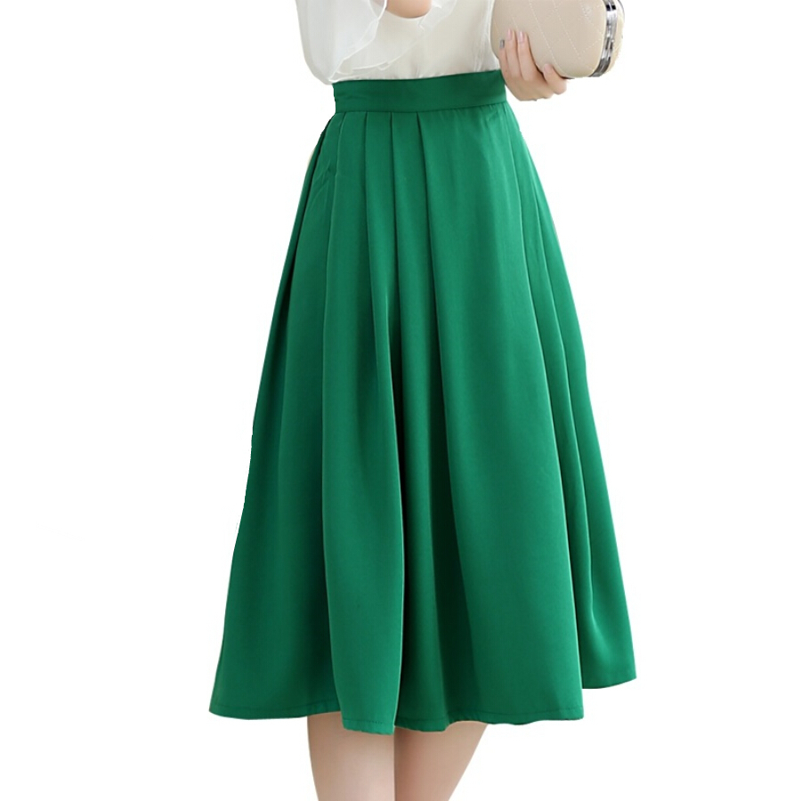 2015 summer new pleated high waist chiffon skirts