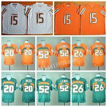 Miami Hurricanes College Jerseys 20 Ed Reed 15 Brad Kaaya Jersey Shirt 26 Sean Taylor 52 Ray Lewis Fashion Green Orange White(China (Mainland))