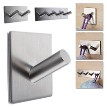 Stainless Steel Self Adhesive Hook Key Rack Bathroom Kitchen Towel Hanger Wall Mount  E2shopping(China (Mainland))