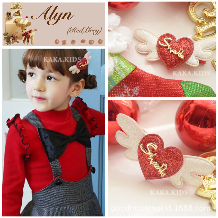 2015 New arrival South Korean girl lovely angel heart hairpin children clip hair accessories 30ps/lot(China (Mainland))