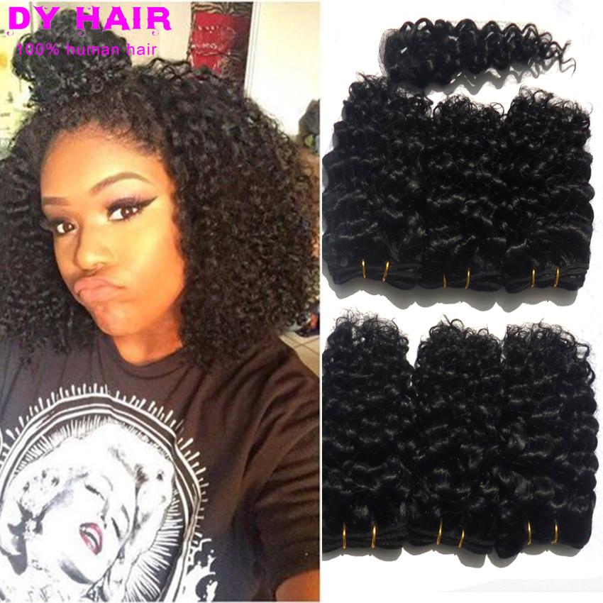 Sexy Women Short Hair Style Peruvian Virgin Afro kinky Curly Hair Natural Black 8 Inch Short Kinky Hair Bundles with Closure(China (Mainland))