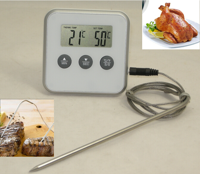 Digital Kitchen Oven Food Cooking Meat BBQ Grill Roast Barbecue Thermometer / Instant Read Water or Milk Thermometer with Probe(China (Mainland))