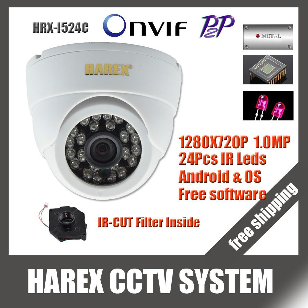 1280*720P 1.0 Mega pixel 24pcs IR leds IP Dome Camera ONVIF 2.0 indoor IR-CUT Night Vision P2P Plug and Play, free shipping(China (Mainland))