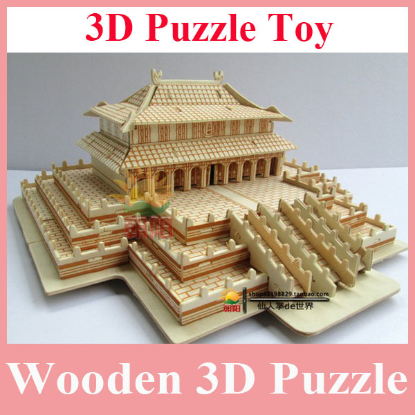 Free Shipping Hot Sell Fashion Wooden 3D Puzzle Toy for Kid's and Adult, Good Quality House Model Wooden Puzzle DIY Wholesale(China (Mainland))