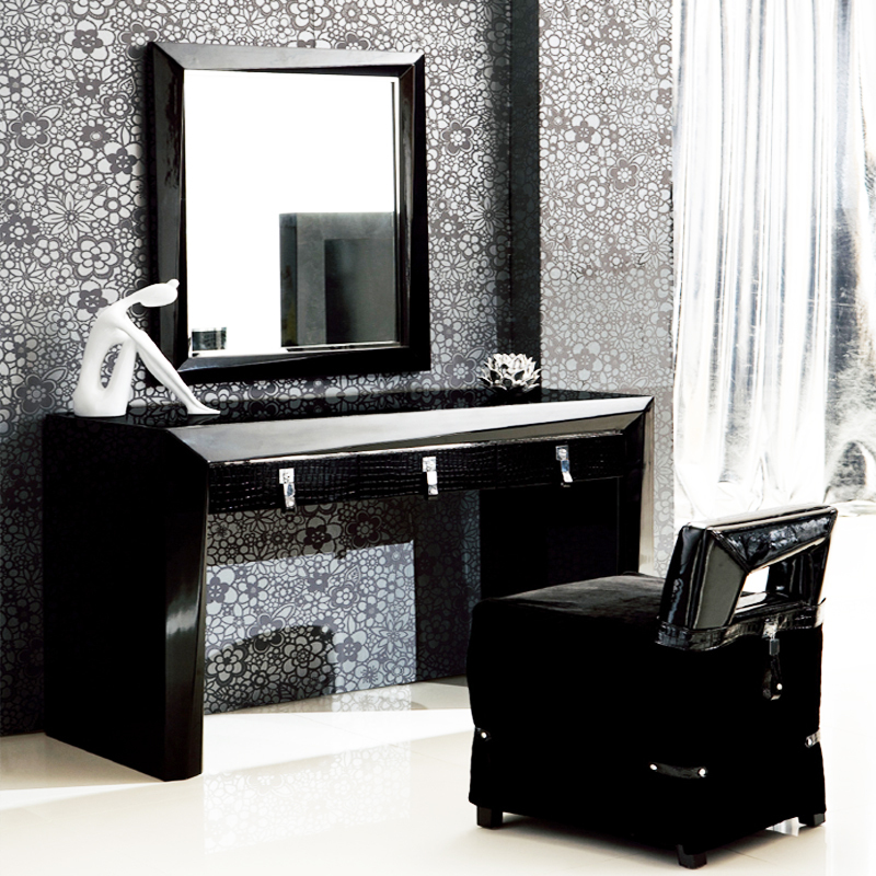 Contemporary vanity stool mirror makeup dressing table for Black vanity table without mirror