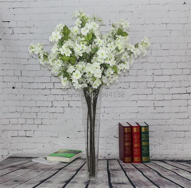 6pcs Silk Cherry Blossom Floor Mounted Peach Flower Cream/Pink for Wedding Centerpieces Artificial Decorative Flowers(China (Mainland))