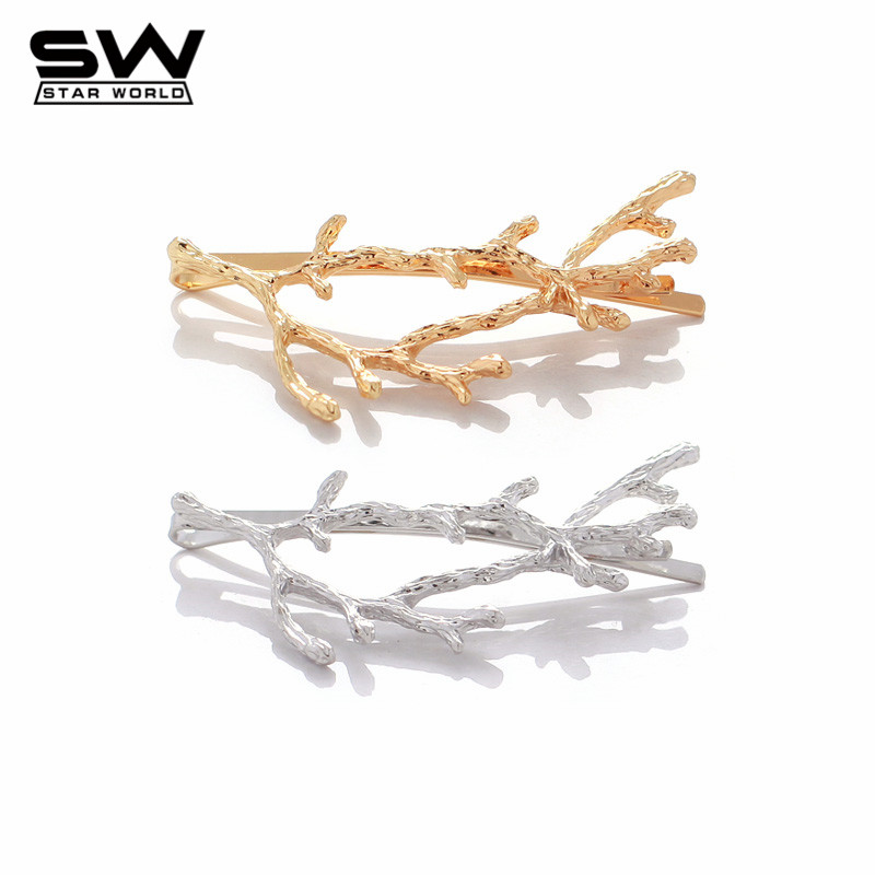 STARWORLD 2016 New Korean Beautiful Romantic Flower Branch Hairpin Hair accessories Bang Clip Hair Jewelry for Women F016(China (Mainland))