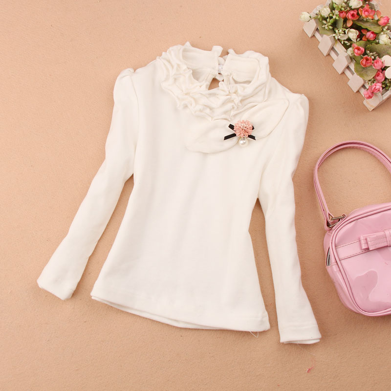 school girl white blouse 2016 Autumn kids clothes girls children clothing cute 100% cotton child shirt blusas age 1-16Y - A M store