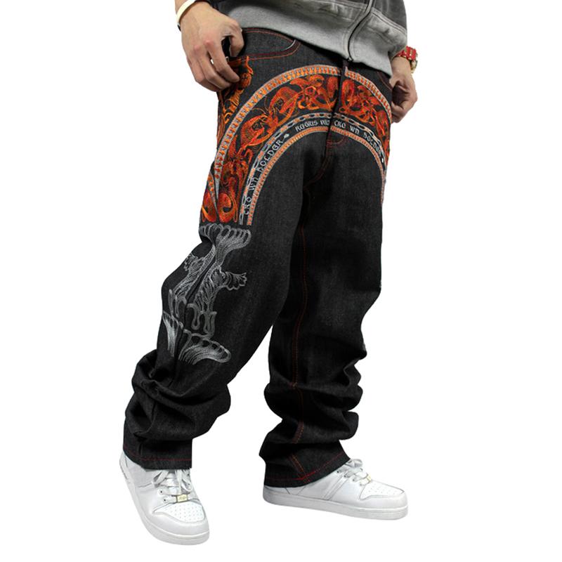 Mens Denim Jeans  New Hip Hop Embroidery Loose Large 30-42 Black HipHop Designer Skateboard Pants Man Free Ship