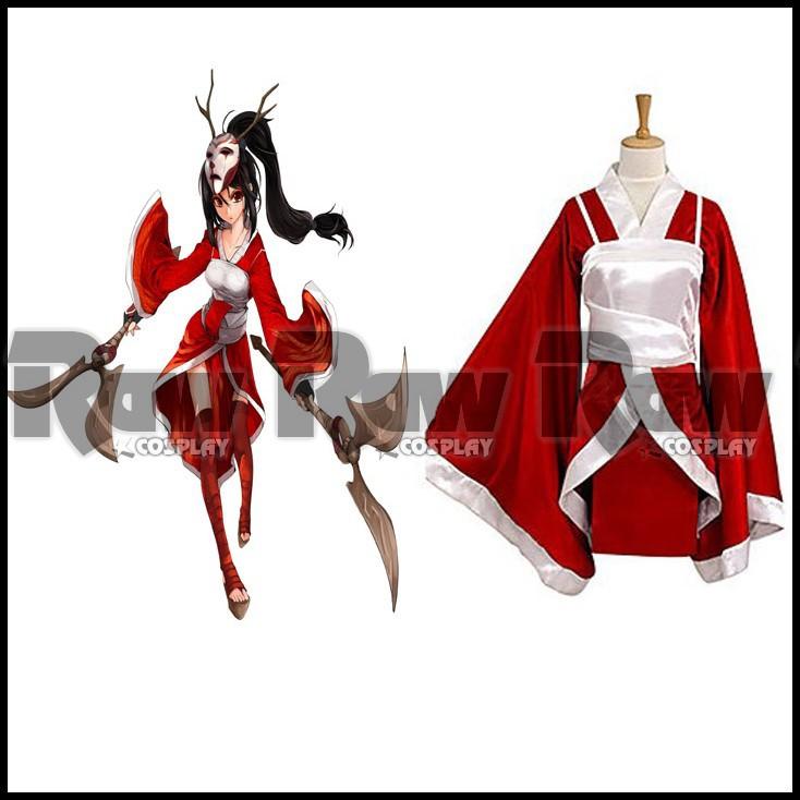 Game Akali Vintage red cosplay costume for halloween women Retro party kimono girl Retro Collection dress on sale RAW0414(China (Mainland))