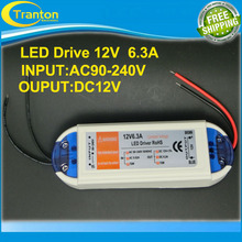 12V 6.3A 72W 100V-240V Lighting Transformers high quality safy Driver for LED strip  power supply(China (Mainland))