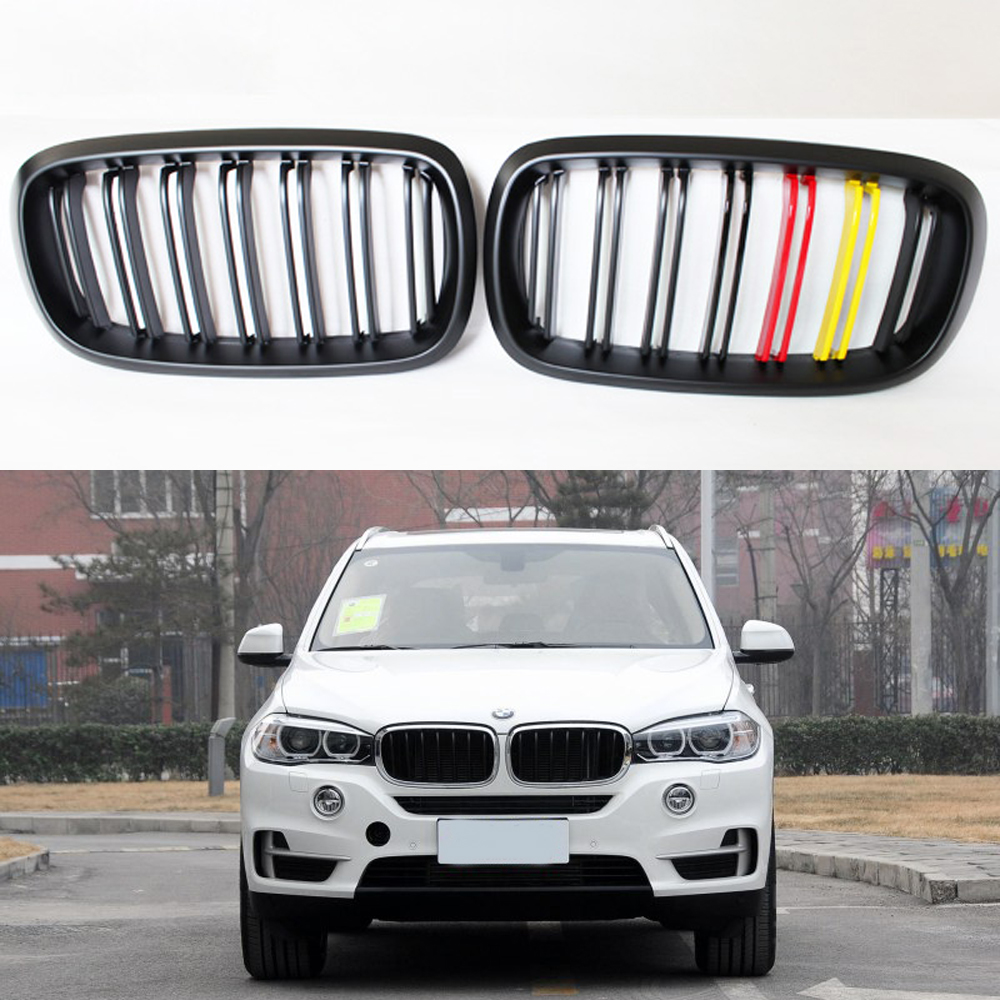F16 X6 F15 X5 Matt German flag 3 color ABS Auto Front Bumper Mesh Grill Guard for BMW X5 X6 2014-2016 M Style(China (Mainland))