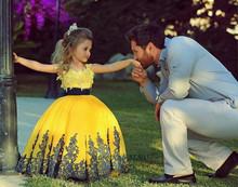 Beauté jaune dentelle Pageant robes pour les petites filles robe De bal robe De Daminha Flower Girl robe De bal robe enfants 2016(China (Mainland))