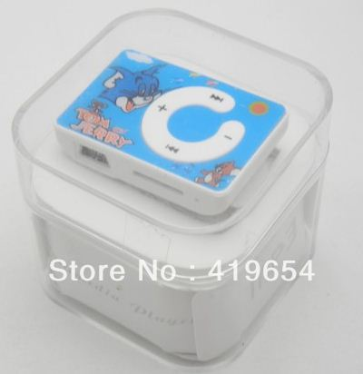 Tom Jerry Mini Plastic Clip MP3 Player With Micro SD Card Slot With Crystal Box Earphone Usb Cable 1pcs/lot Free Shipping(China (Mainland))