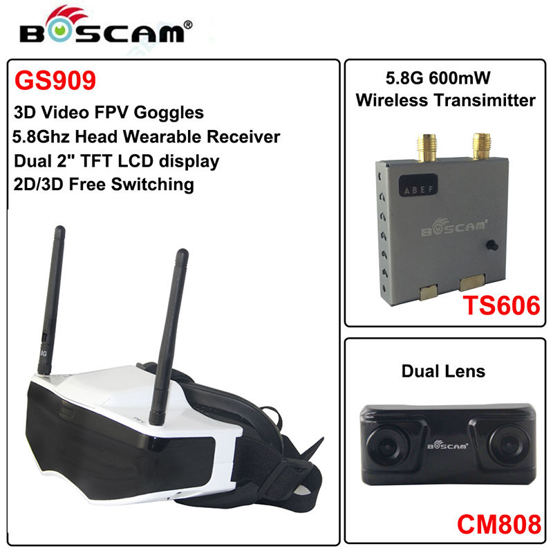 Free shipping!Boscam GS909 3D Video FPV Goggles 5.8G 32CH Glasses w/ Double Tran