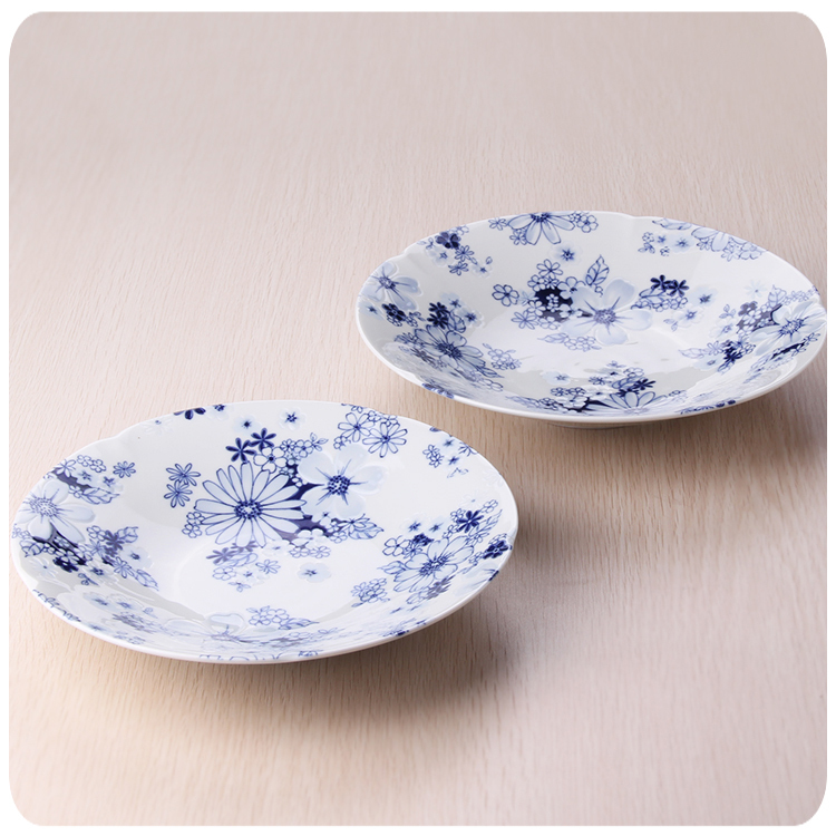 Japan imported ceramic kiln blue and white hand-painted ceramics have deep frying pan deep dish soup plate Japanese Restaurant c(China (Mainland))