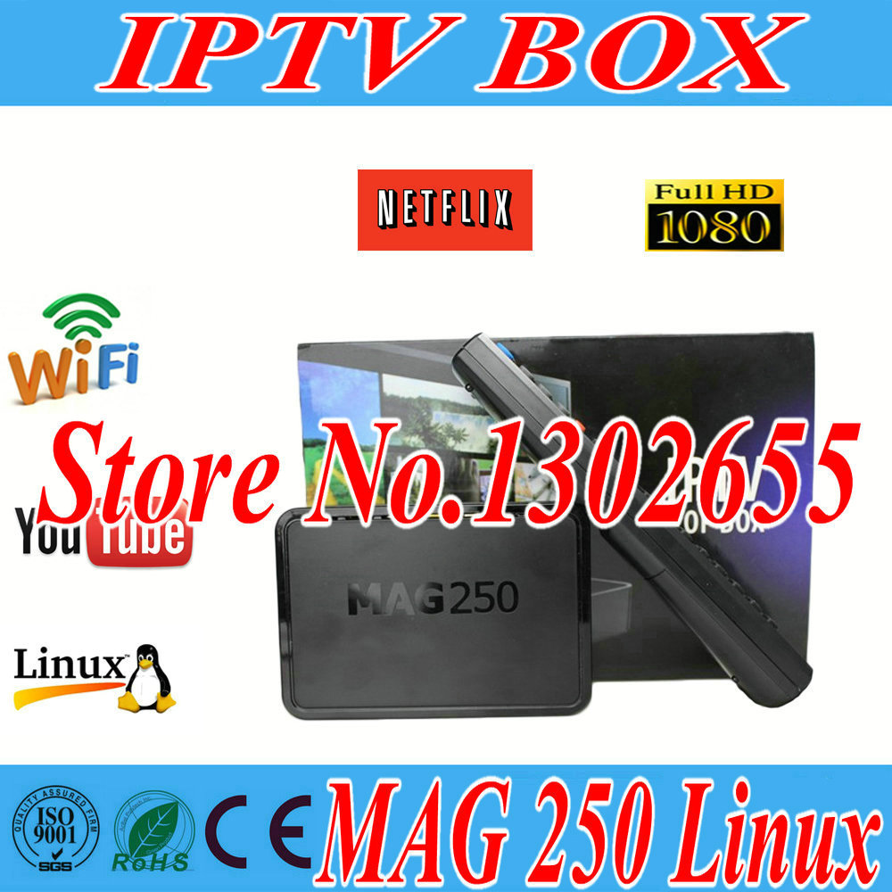 2015 linux 2.6.23 system MAG 250 Tv Box iptv set top box Processor STi7105 RAM 256 Mb iptv box HD satellite receiver Hot sale(China (Mainland))