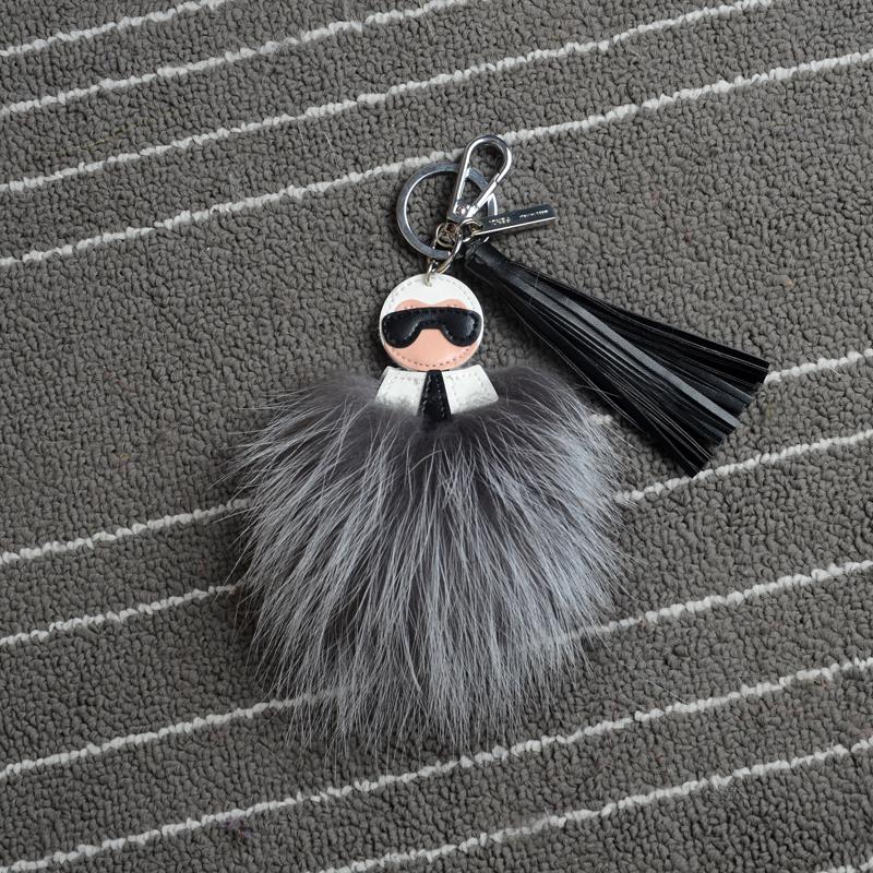 Really Nice Luxury Leather Raccoon Fur monster keychain POM POM Female Fluffy Fur Keychain Bag Charm Jewelry Accessories(China (Mainland))