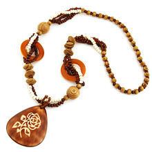 Bohemian Necklace Geometric Necklaces Pendants Wooden Beads Long Women Jewelry Colar - CAIER Factory Store store