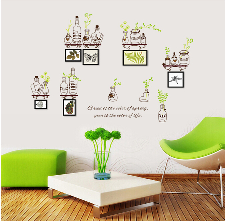 Bottles and green leaf wall mural sticker removable home for Adhesive decoration