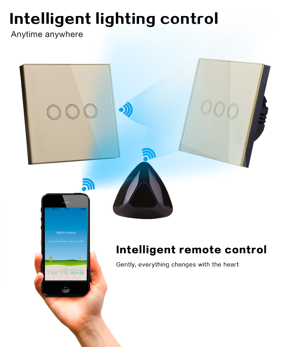 VHOME Smart Home RF 433Mhz gold Touch Wall Switch Shape remote control For touch Switch Garage door receiver remote control