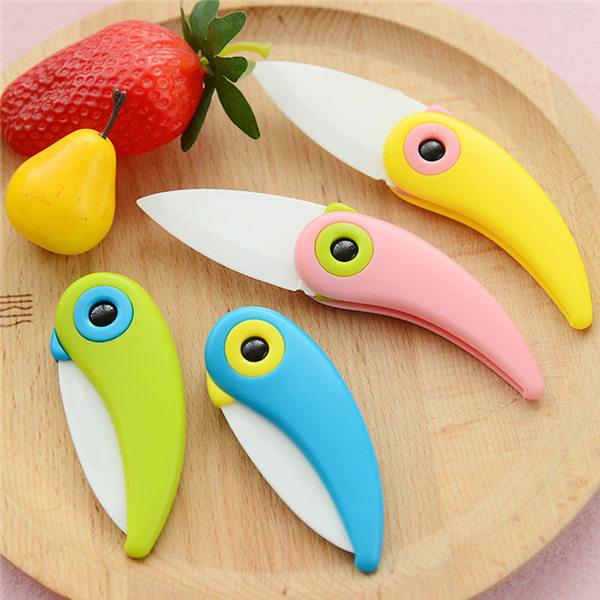 1PCS Cooking Tools Mini Bird Ceramic Knife Gift Knife Pocket Ceramic Folding Knives Kitchen Fruit Paring Knife With Colourful(China (Mainland))