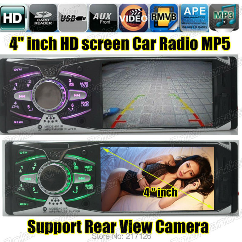 4.0'' HD Car Stereo Radio 12V REAR VIEW TFT MP5 Player AUX/SD/USB/FM 5V Charger MP3/MP4/Audio/Video/Car Electronics 1 DIN(China (Mainland))