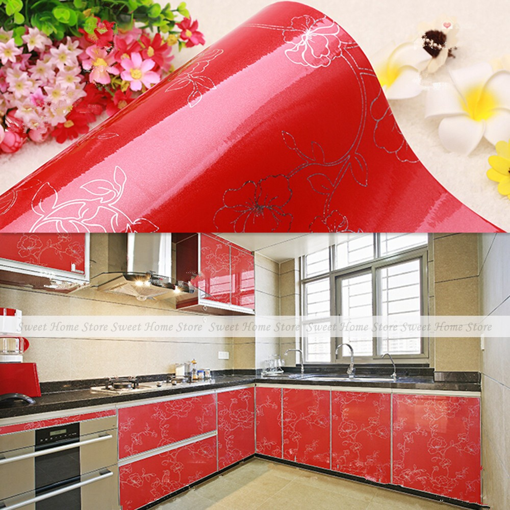 yazi Gloss Red Peony PVC Contact Paper Self Adhesive Wallpaper Kitchen Units Cupboard Door Cover Up 61X250cm(China (Mainland))