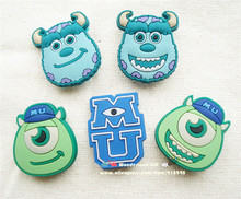 Free shipping 500pcs/lot Mon Universtiy Inc clog sandal shoe charms buttons pins Mike Sully cake decoration party favor gifts(China (Mainland))