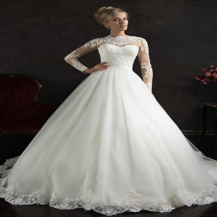 Buy 2015 women winter romantic wedding for Long sleeve chiffon wedding dress