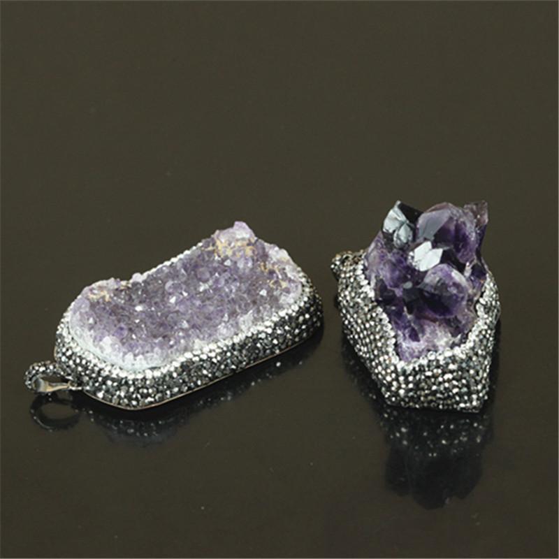 5 pcs Wholesale mix color natural druzy amethyst pendant druzy luxury quartz pendant fine jewelry for women necklace