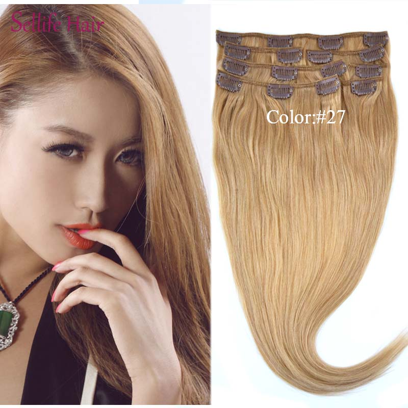 7 pcs/set Color #27 Clip In Brazilian Remy Hair Extensions 15182022Long Straight Hair 120grams 100% Human Nautral Hair<br><br>Aliexpress