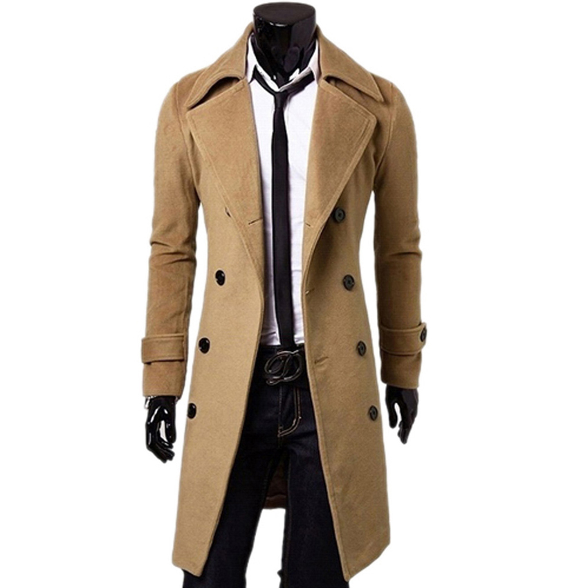 famous brand men wool double breasted coat fashion long trench coat men mens jackets and. Black Bedroom Furniture Sets. Home Design Ideas