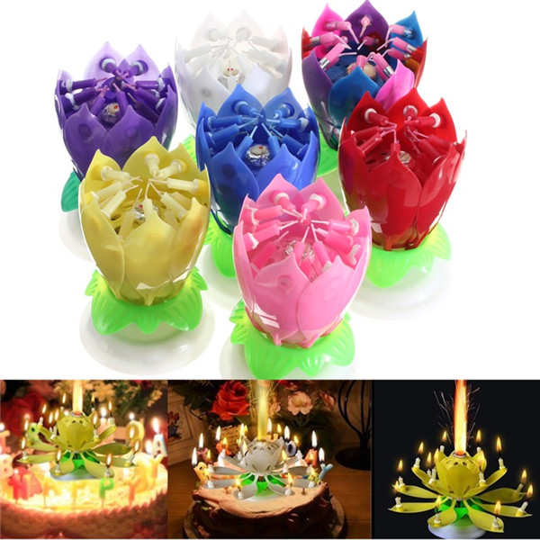 Big Promotion Beautiful Musical Lotus Flower Happy Birthday Party Gift Rotating Lights Decoration 14 Candles Lamp(China (Mainland))