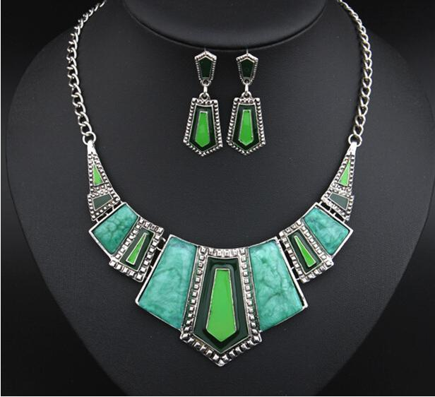 New Fashion Vintage Jewelry Sets For Women Big Turquoise Enamel Necklace Earrings Jewelry Set 2T012(China (Mainland))