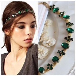 Big Brand Hair Jewelry Green Crystal Hair Accessories Fashion Headbands For Women Gold Head Chain Bijoux Cheveux Wholesale CEV(China (Mainland))