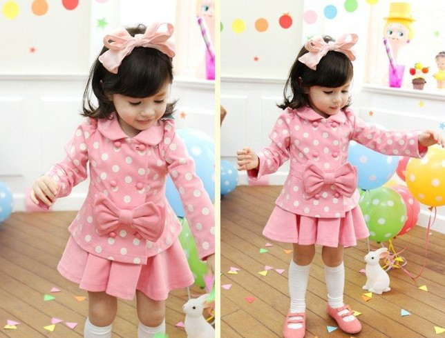 DQZ025 Free shipping cute children clothing set long sleeve shirt+skirt 2pcs kids suit sweat bow girl clothes sets retail(China (Mainland))