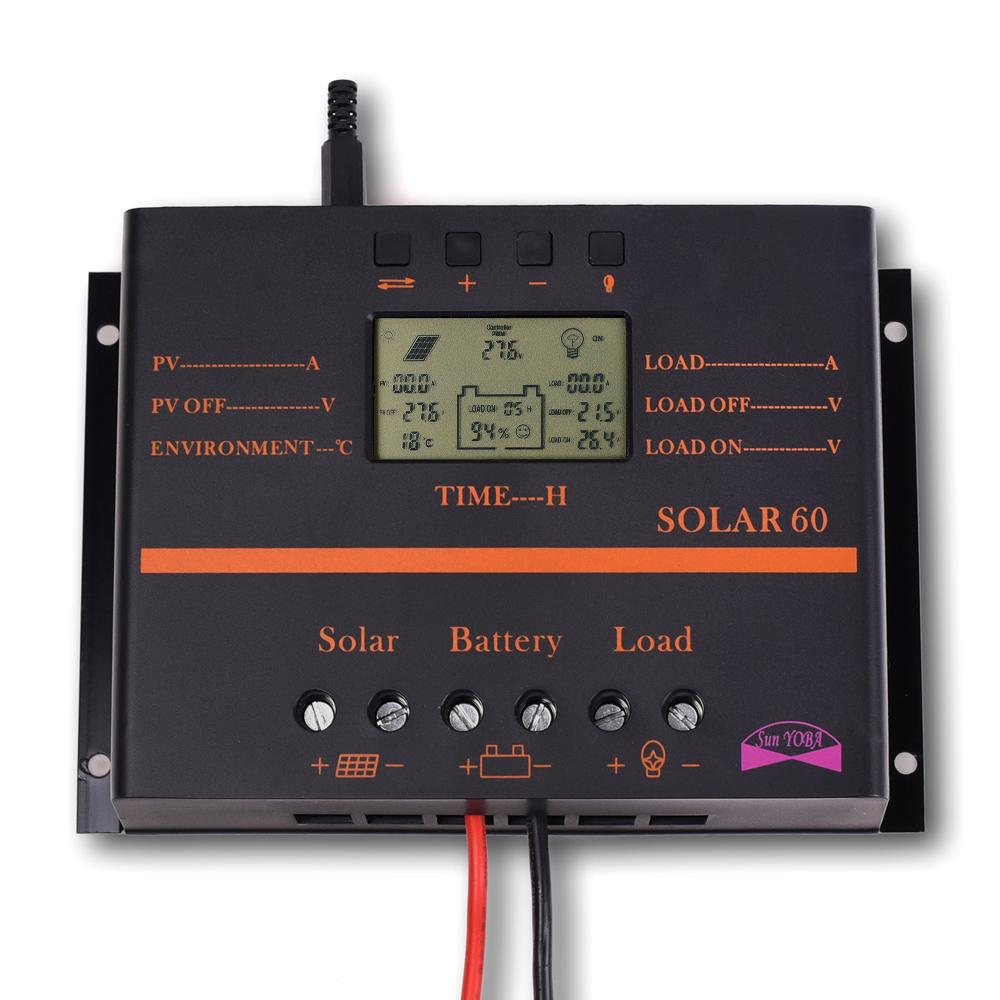 2015 60A LCD Solar Battery Regulator Charge Discharge Controller 12V 24V With USB(China (Mainland))