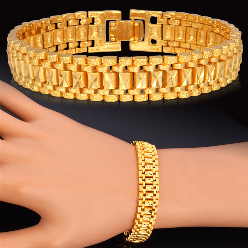 Hot Fashion Yellow Gold Plated Chain Bracelet 19cm Long 12MM Width 1:1 Golden Link Chain For Men/Women Chunky Jewelry Gift H450(China (Mainland))