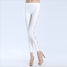New Spring Summer Leggings High Elastic Trousers Pants Leggings Imitation Leather Side Hollow Out Rose Lace