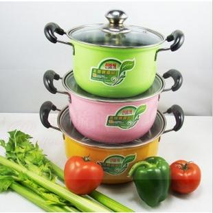 FREE SHIPPING 6pcs casseroles pots set pans COOKING POT colorful stainless steel cookware set 16-20cm(China (Mainland))