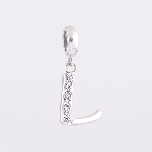 Аутентичные стерлингового серебра 925 бусины алфавит L ожерелье письмо шарм ювелирные изделия DIY подходит для Chamilia европейский шарм браслет