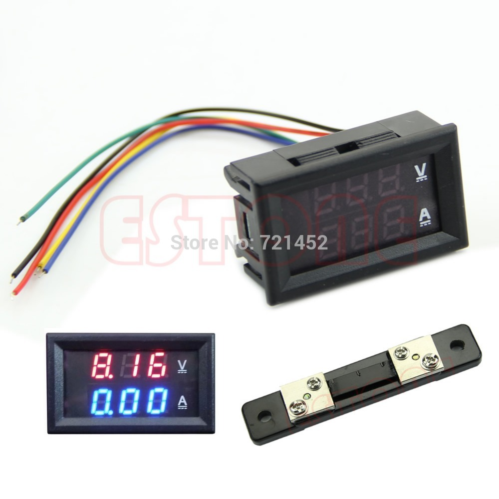 J35 Free Shipping DC 100V 50A Dual LED Digital Voltmeter Ammeter Amp Volt Meter + Current Shunt(China (Mainland))