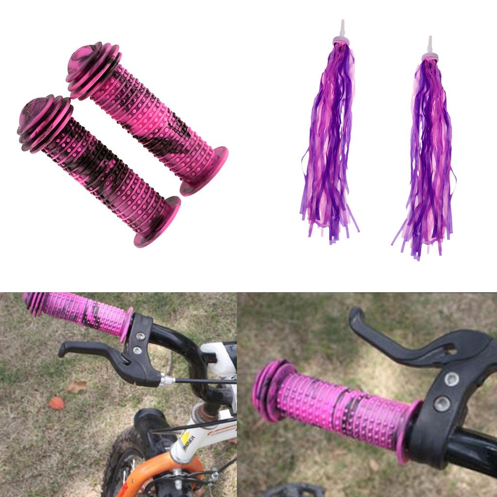 Kids Child  Bicycle Grips Mushroom Handle Bar Colorful Bike Grip//Pink White
