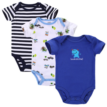 3pcs/lot Baby Romper Short Sleeve Cotton Similar Carters Baby Boy Girl Clothes Baby Wear Jumpsuits Clothing Set Body Suits