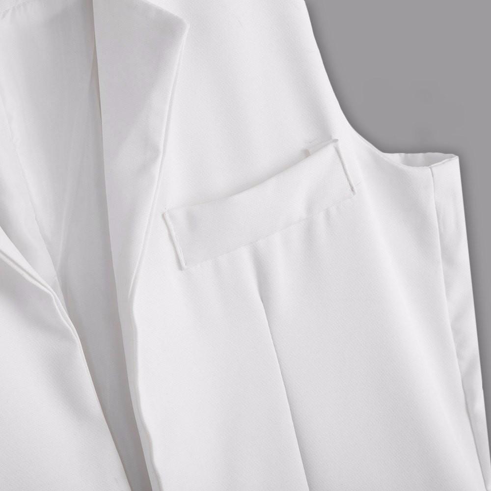 VESTLINDA Long Vest Back Split Outwear Waistcoats Women White Black Jacket Coat Sleeveless Cardigan Pocket Blazer Vest Femme Top 15