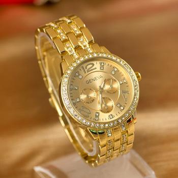 Fashion Popular Watches GENEVA Stainless steel Watch Women Dress Watch Women reloj Quarzt Wristwatches relogio feminino
