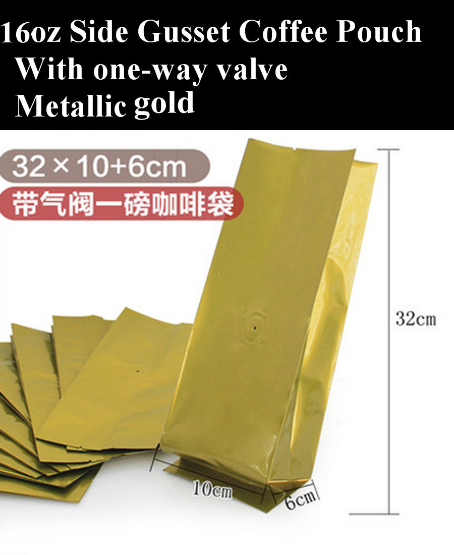 1 Pound Gold Aluminum Foil Side Gusset Coffee Pouch with Valve, Heat Seal Coffee Pouch 100pcs/lot, Free Shipping(China (Mainland))