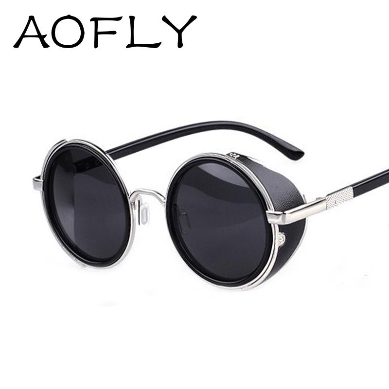 Steam Punk Side Visor Circle Lens Round Retro Hybrid Old School Biker Sunglasses retro vintage lenses sun glasses oculos goggles(China (Mainland))