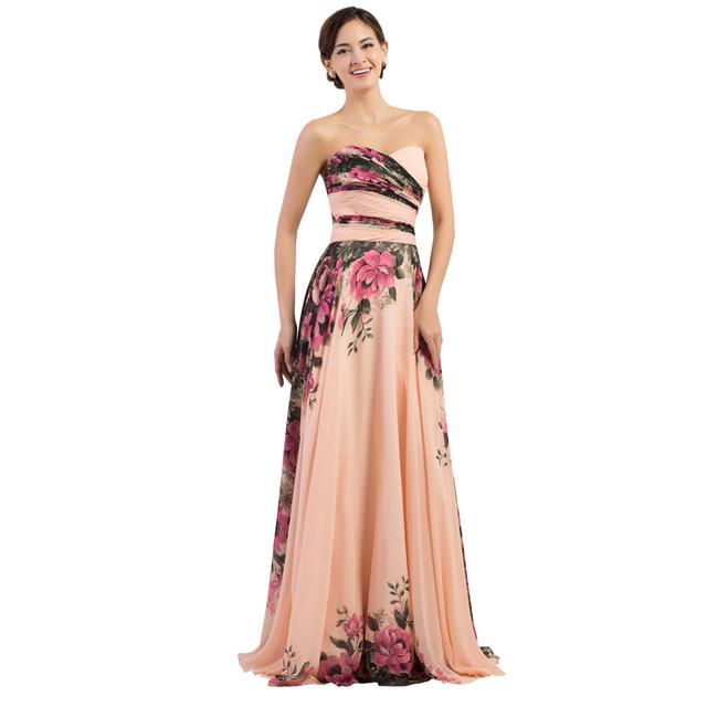 Элегантные женские старинные Большой размер вечернее платье длиной с цветами печатных ...